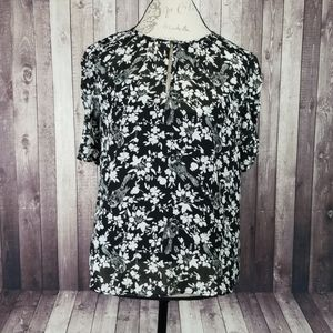 J. Crew Ruched Sleeve Blouse in Bird floral print